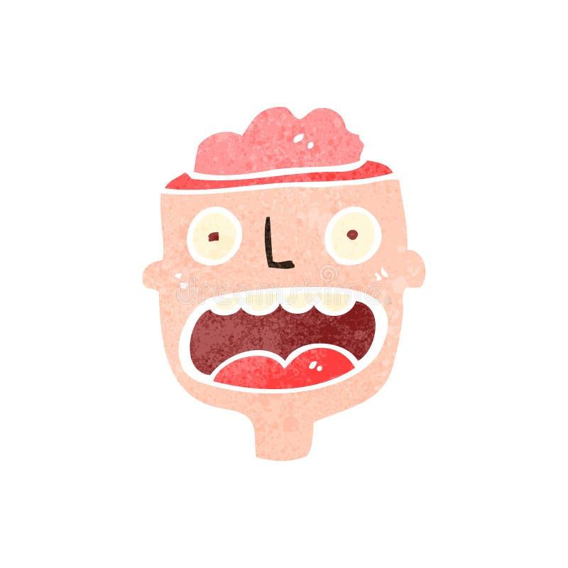 retro kreskówka mężczyzna z odsłoniętym mózg royalty ilustracja