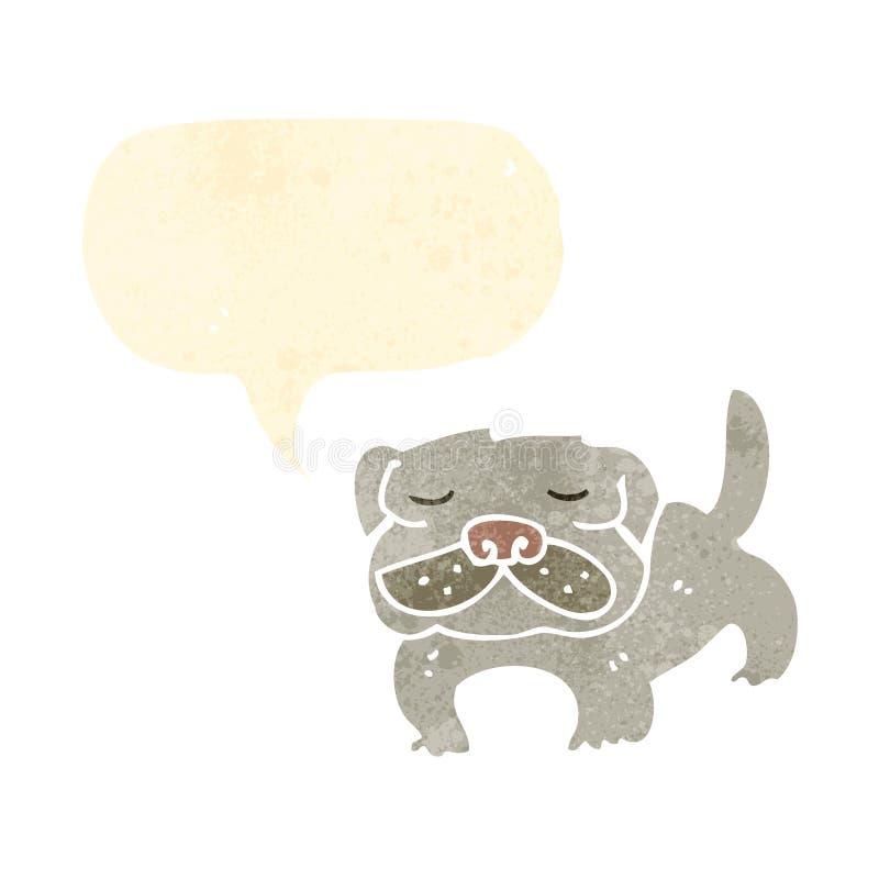 retro kreskówka mops ilustracji