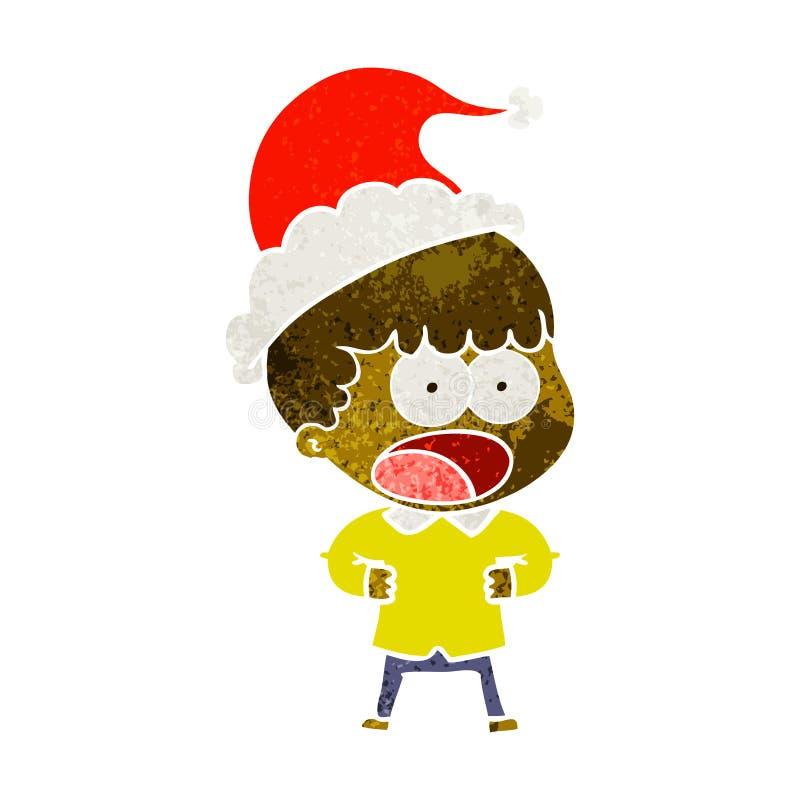 Retro kreskówka szokujący mężczyzna jest ubranym Santa kapelusz ilustracja wektor