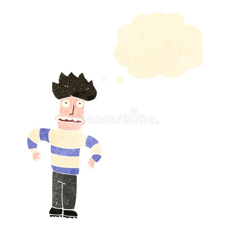 retro kreskówki niespokojny mężczyzna ilustracji