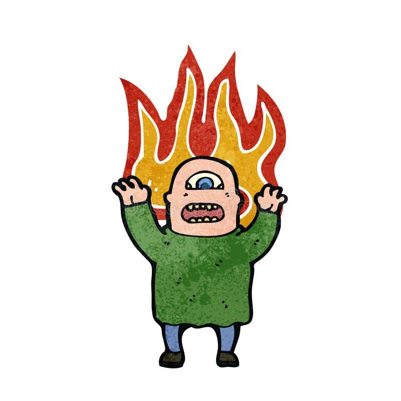 retro kreskówki płomienny potwór royalty ilustracja