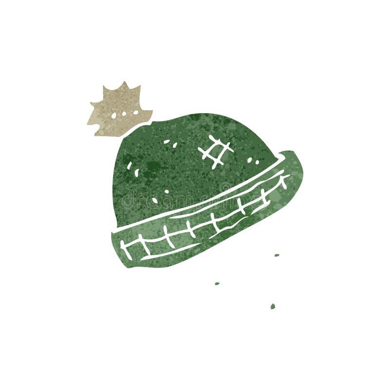 retro kreskówki zimy trykotowy kapelusz ilustracja wektor