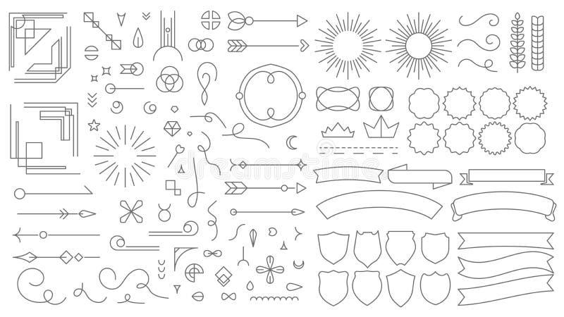 Retro kreskowi emblematów elementy Rocznik dekoracyjne rysunkowe odznaki, starego stylu wykładający dividers i ram granic linie w ilustracja wektor