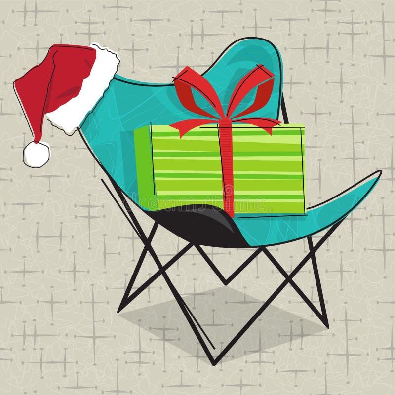 Retro krzesło z Santa nakrętką i boże narodzenie prezentem ilustracji