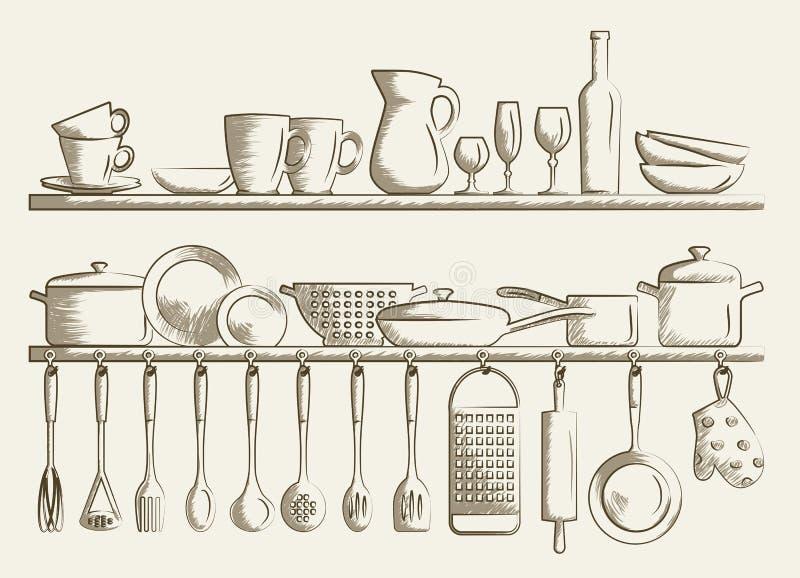 Retro kuchni półki i kulinarni naczynia ilustracja wektor