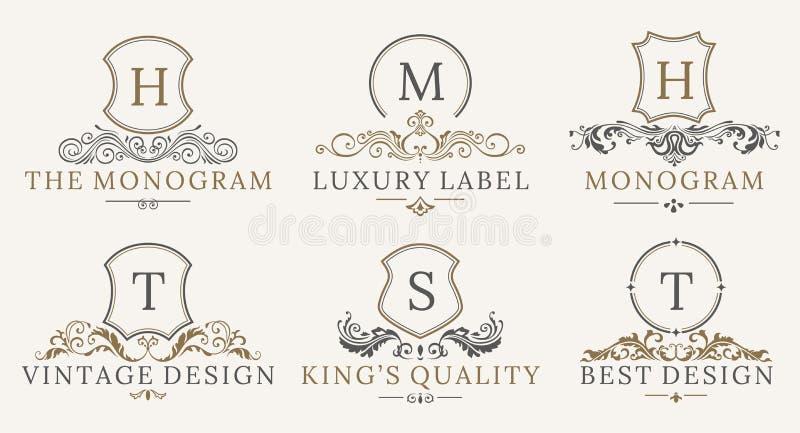 Retro kunglig tappning skyddar logotypuppsättningen Beståndsdelar för design för logo för vektorcalligraphyc lyxiga Affärstecken, vektor illustrationer