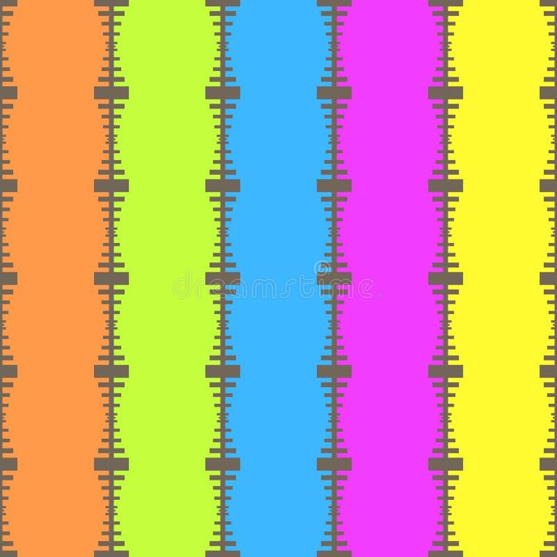 Retro- Kunst der nahtlosen geometrischen Weinlese des Streifenmustervektorhintergrundes bunten mit den Linien und Reißverschluss, vektor abbildung