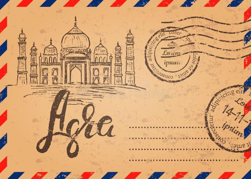 Retro kuvert med stämplar, theTaj Mahal royaltyfri illustrationer