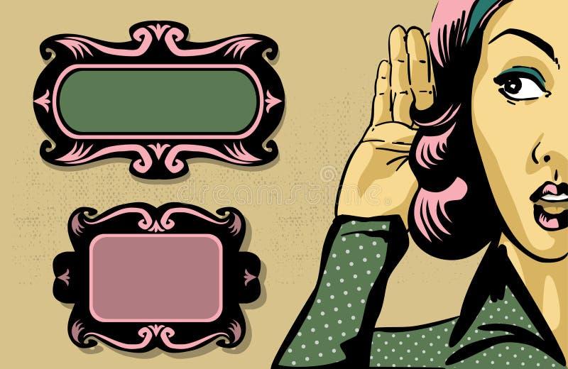 Retro kvinna stock illustrationer