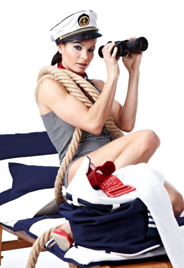 retro kvinna för älskvärd stående arkivfoton