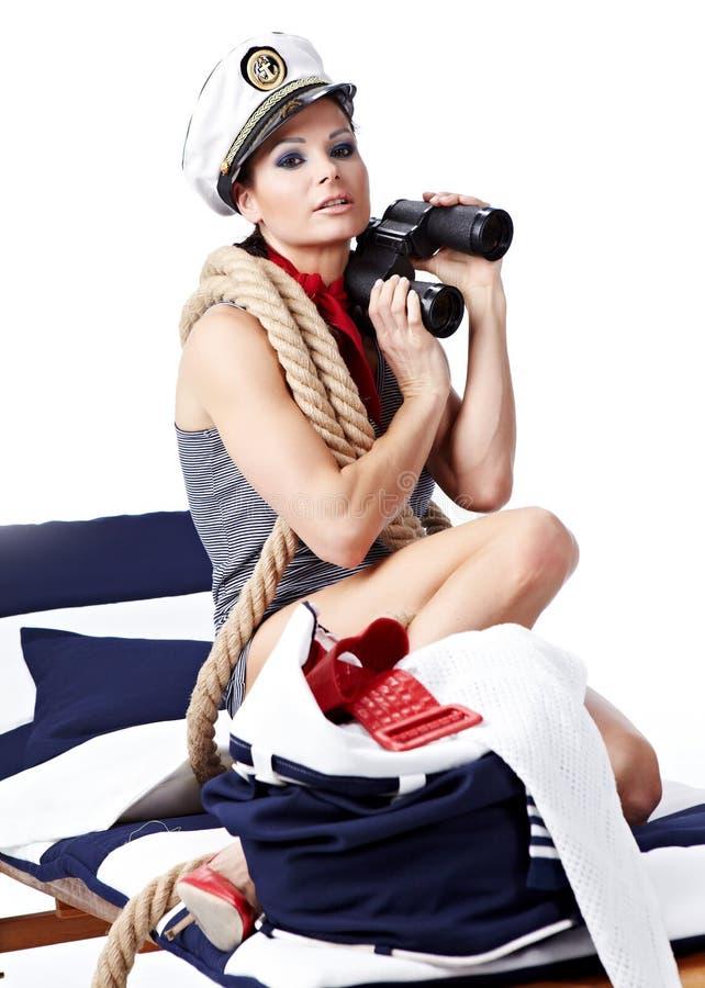 retro kvinna för älskvärd stående arkivfoto