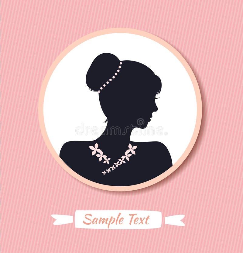 Retro kvinnahuvudkontur i rund ram Halv framsida för vektorkvinna Tappningdamstående royaltyfri illustrationer