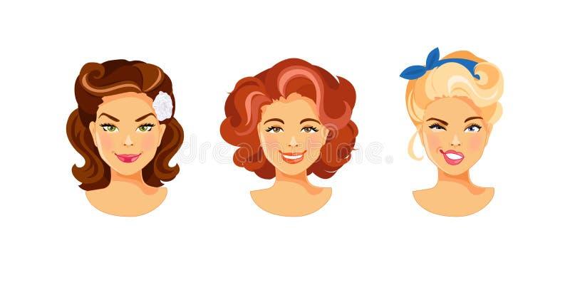 Retro kvinnlig frisyr vektor illustrationer