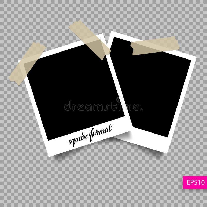 Retro kwadratowy polaroid fotografii ramy szablon royalty ilustracja