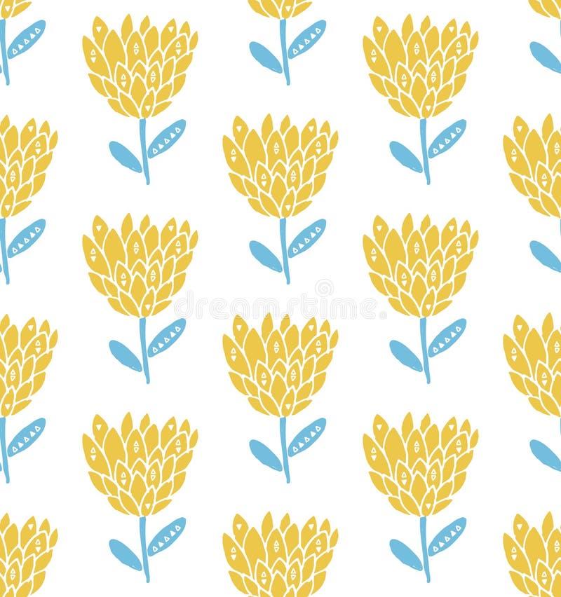 Retro kwiatu bezszwowy wzór, scandinavian styl Pastelowi koloru żółtego i błękita kolory zieleni liść natury wzoru tekstura ilustracji