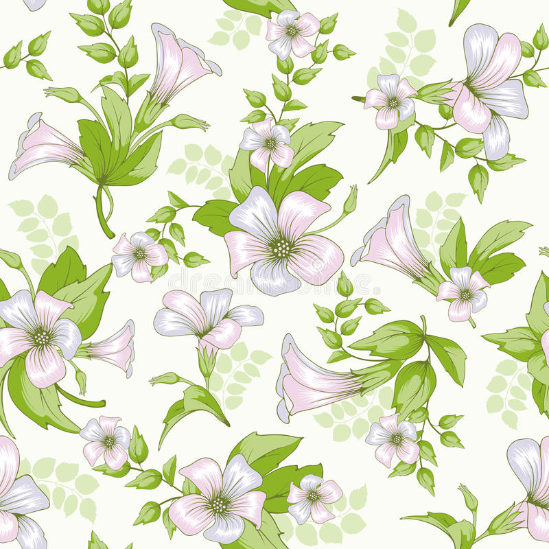 Retro kwiatu bezszwowy wzór - wildflowers ilustracja wektor