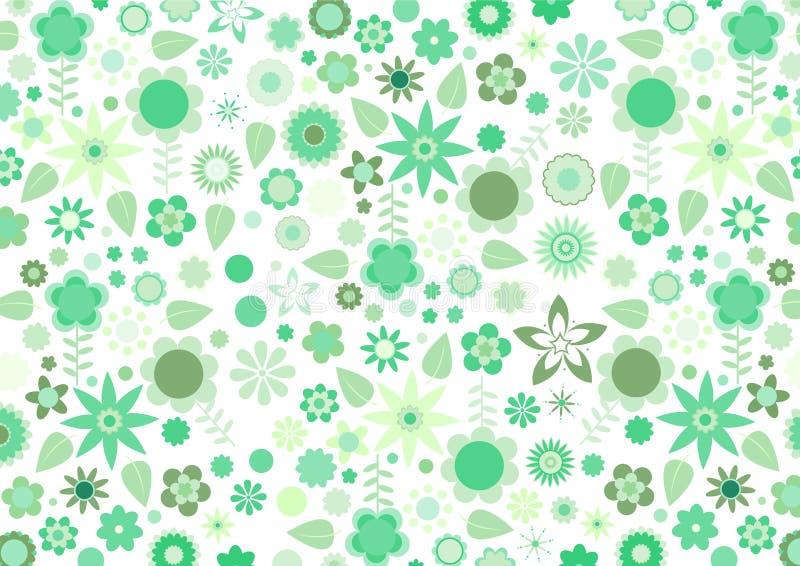 Retro kwiatu i liść zielony ostry wzór royalty ilustracja