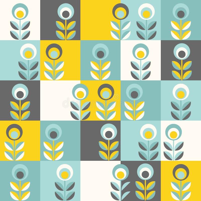 Retro kwiecisty wzór, geometryczni bezszwowi kwiaty ilustracji