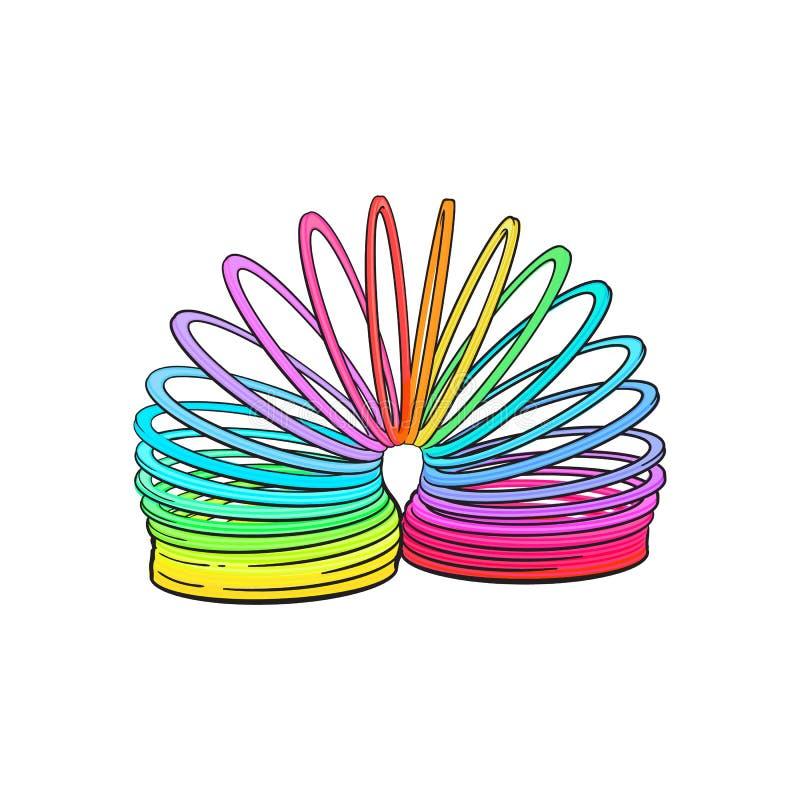 Retro, l'arcobaleno di stile 90s ha colorato la molla di plastica, giocattolo a spirale illustrazione di stock