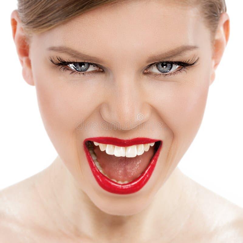 Retro labbra rosse immagini stock libere da diritti