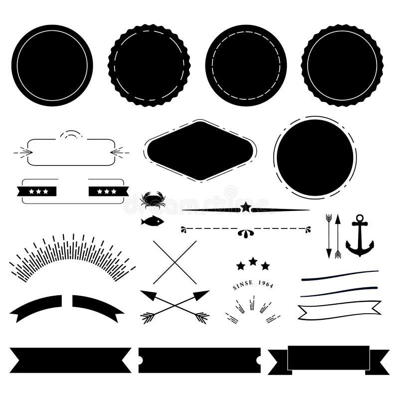 Retro labels elements kit vector illustration