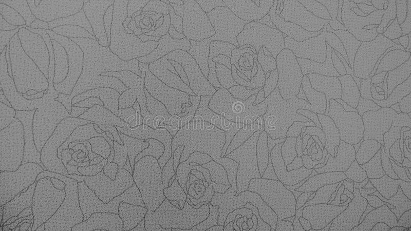 Retro Lace Floral Seamless Pattern Monotone Black and White Fabric Background royalty free stock photo