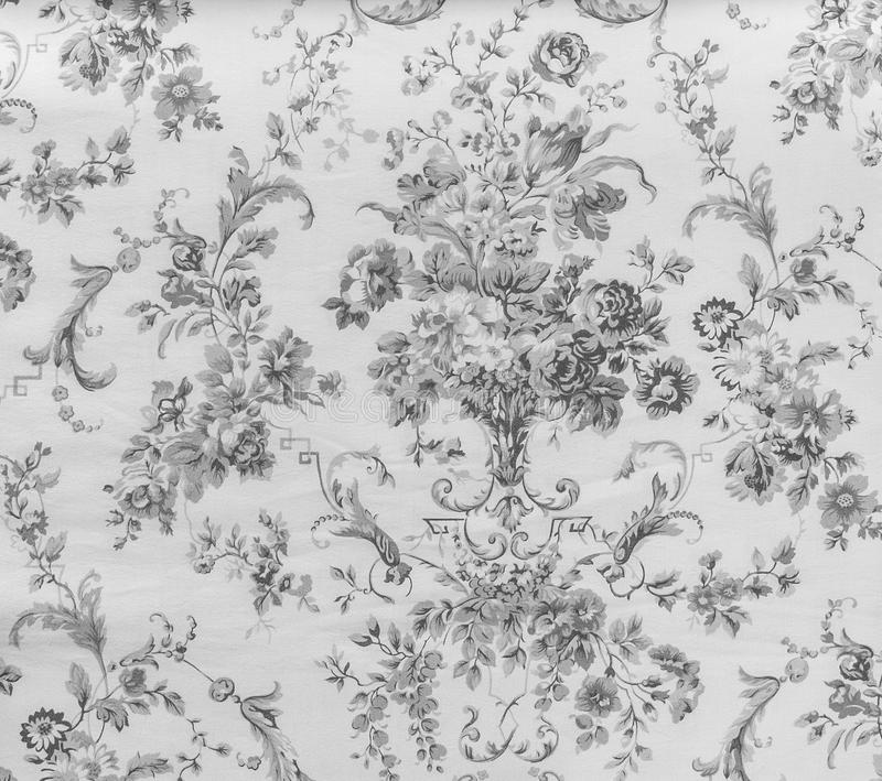 Retro Lace Floral Seamless Pattern Monotone Black and White Fabric Background Vintage Style. Retro Lace Floral Seamless Pattern Fabric Background Vintage Style royalty free stock photo