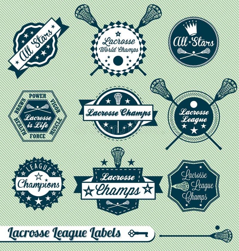 Retro- Lacrosse-Liga-Kennsätze und Aufkleber stock abbildung
