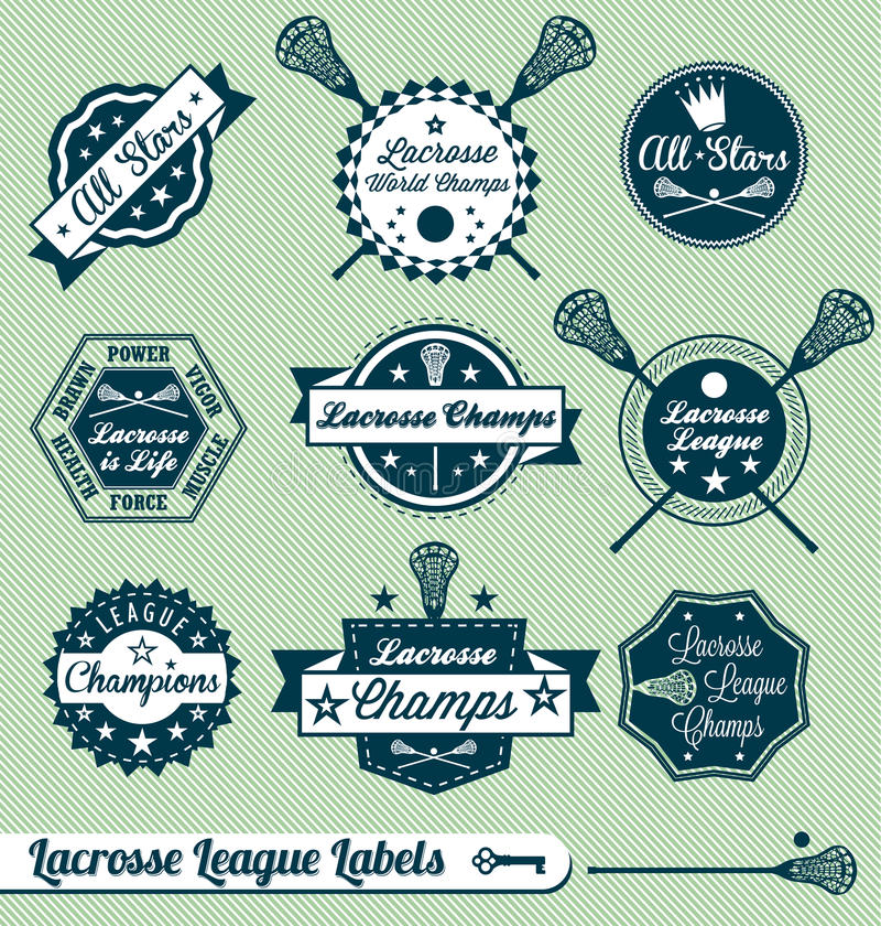 Retro Lacrosse Ligowe Etykietki i Majchery ilustracji