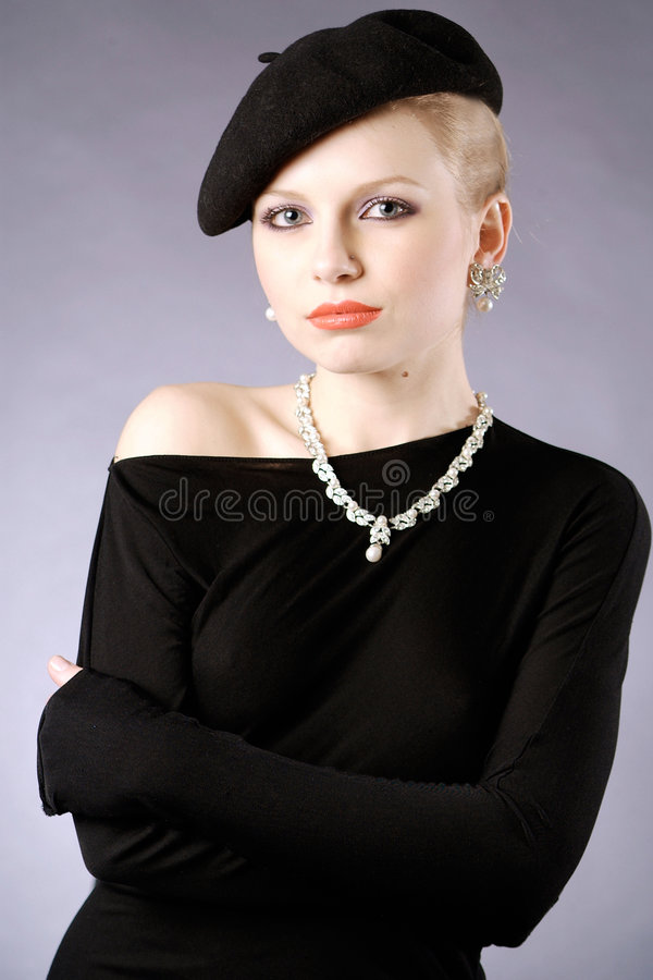 Retro lady stock photo