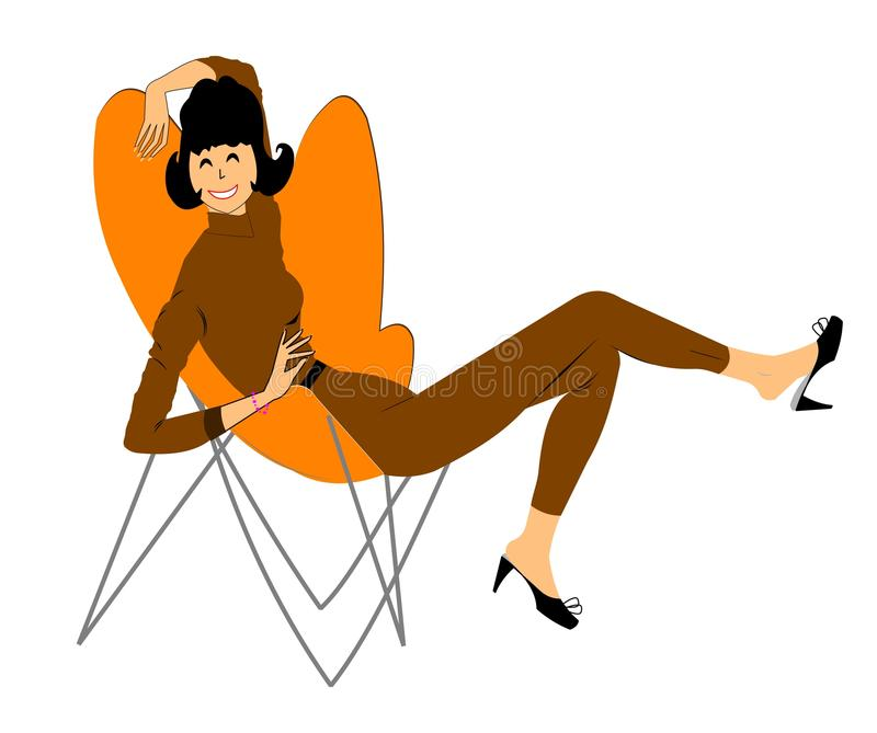 Retro lady relaxing in chair royalty free illustration