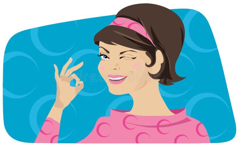 Retro lady showing OK vector illustration