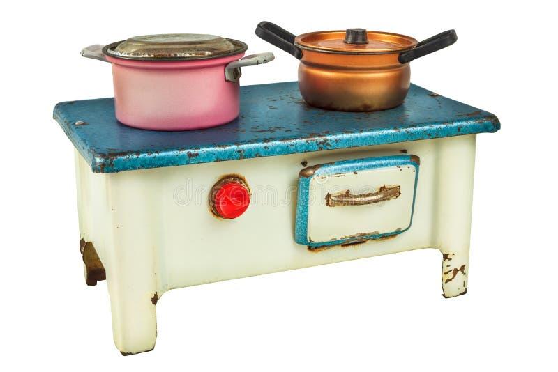 Retro lala domu kulinarna kuchenka odizolowywająca na bielu zdjęcia royalty free