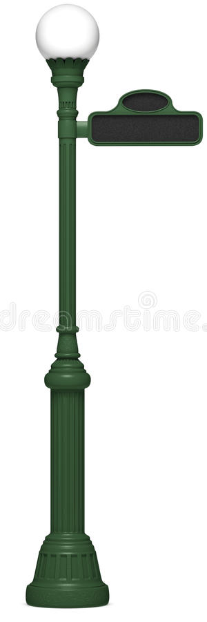 Retro Lamp Post. A picture of a Antique lamp post with street sign royalty free stock photo
