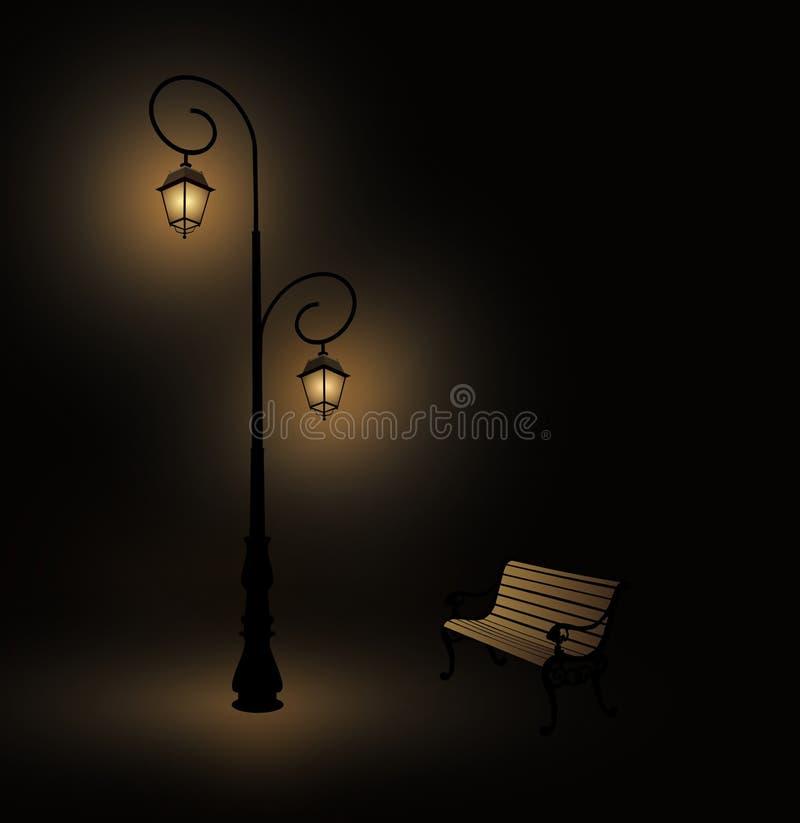 Retro lampada e banco di via royalty illustrazione gratis