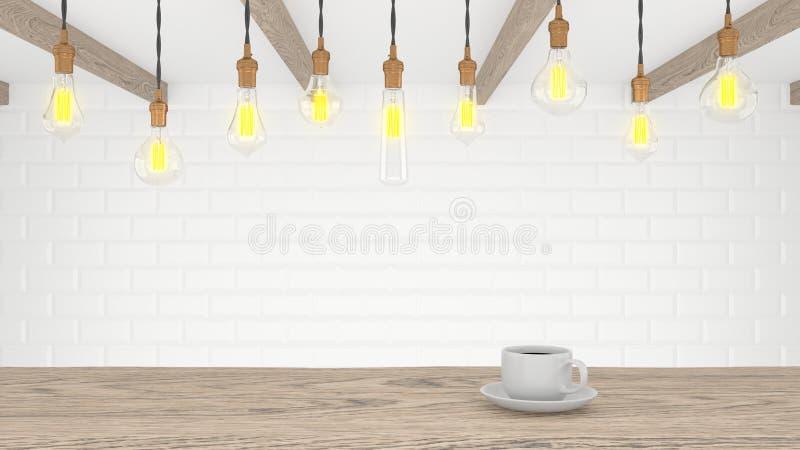 Retro lampada in una cucina moderna leggera Una tazza di caffè su una tabella di legno rappresentazione 3d illustrazione di stock