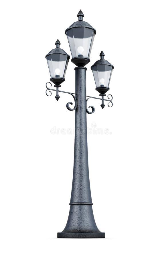 Retro lamppost die op witte achtergrond wordt geïsoleerd het 3d teruggeven royalty-vrije illustratie