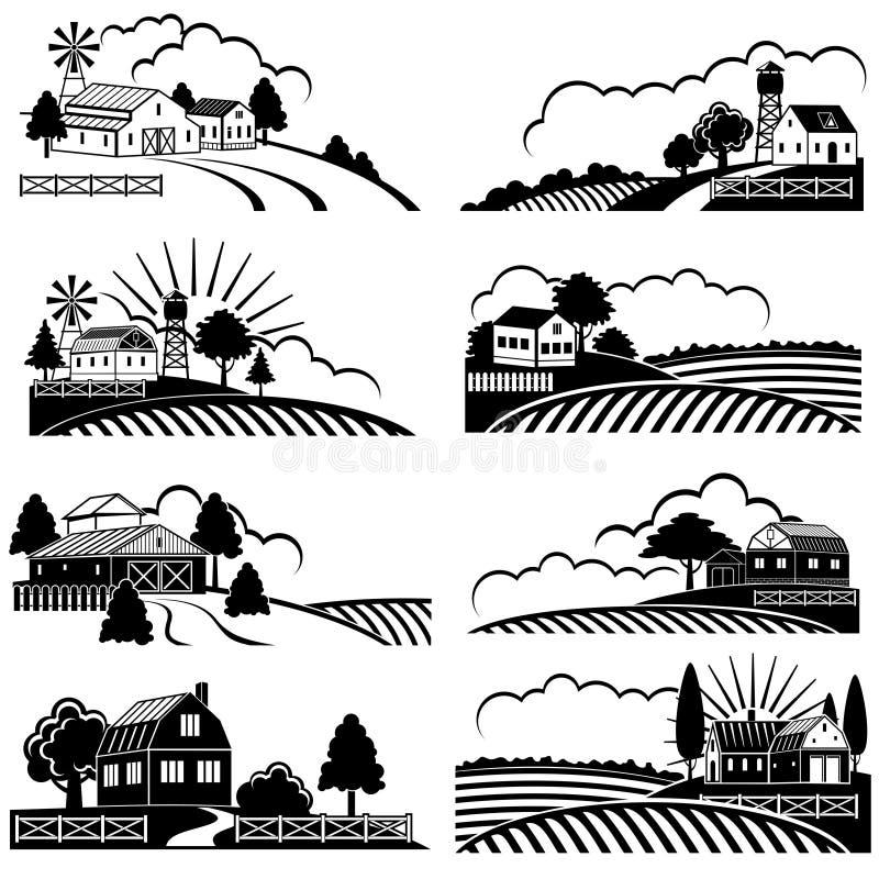 Retro landelijke landschappen met de landbouwbedrijfbouw op gebied Vector uitstekend houtdrukart. royalty-vrije illustratie