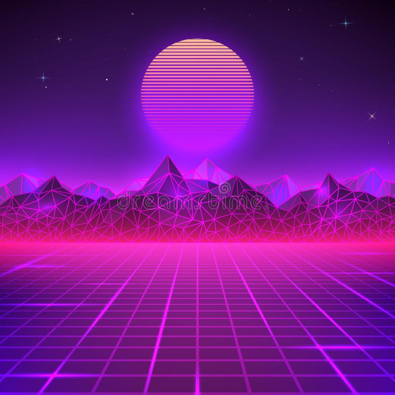 Retro landscape in purple colors. Futuristic planet neon mountains and sunset background. Sci-fi abstract geometric landscape stock illustration