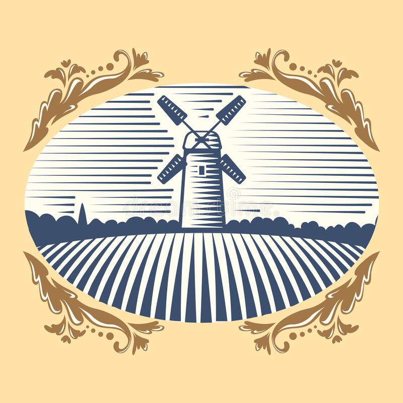 Retro Landscape Windmill Vector Illustration Farm House Agriculture