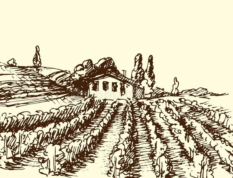 Retro landscapes vector illustration farm house agriculture graphic countryside scenic antique drawing. royalty free illustration