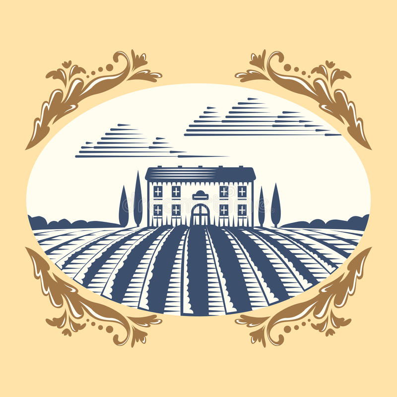 Retro Landscapes Vector Illustration Farm House And Field