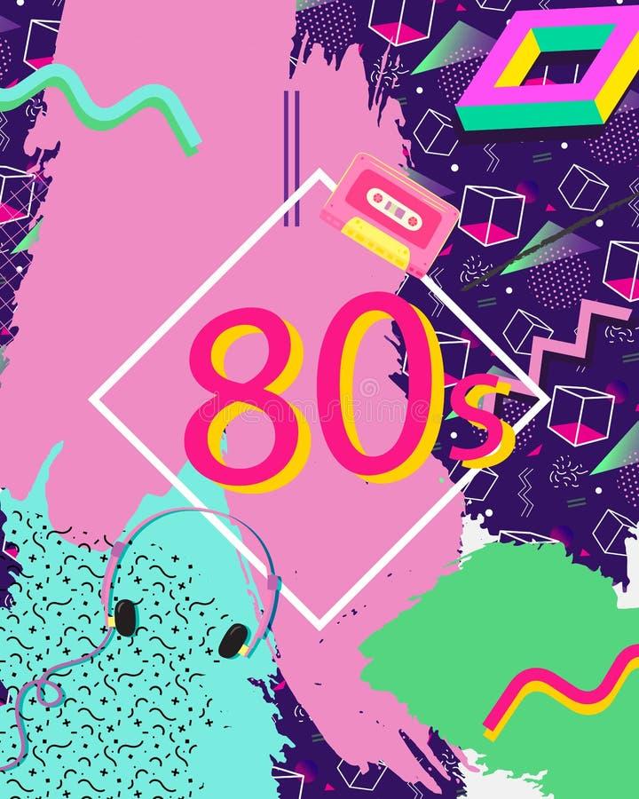 Retro lata osiemdziesiąte abstrakta tło ilustracji