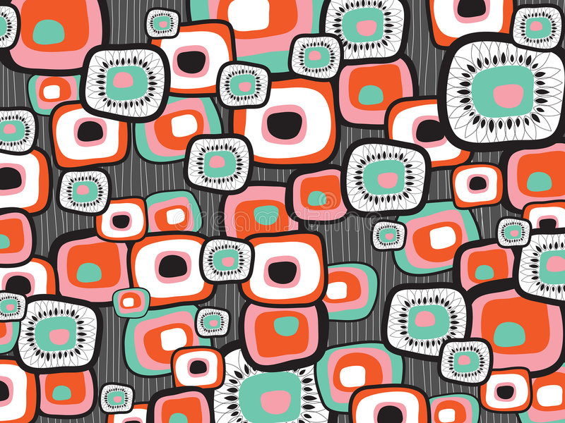 Retro lava flower squares vector illustration
