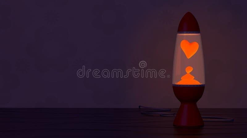 Retro lavalamp met hart gestalte gegeven lavavlek stock illustratie