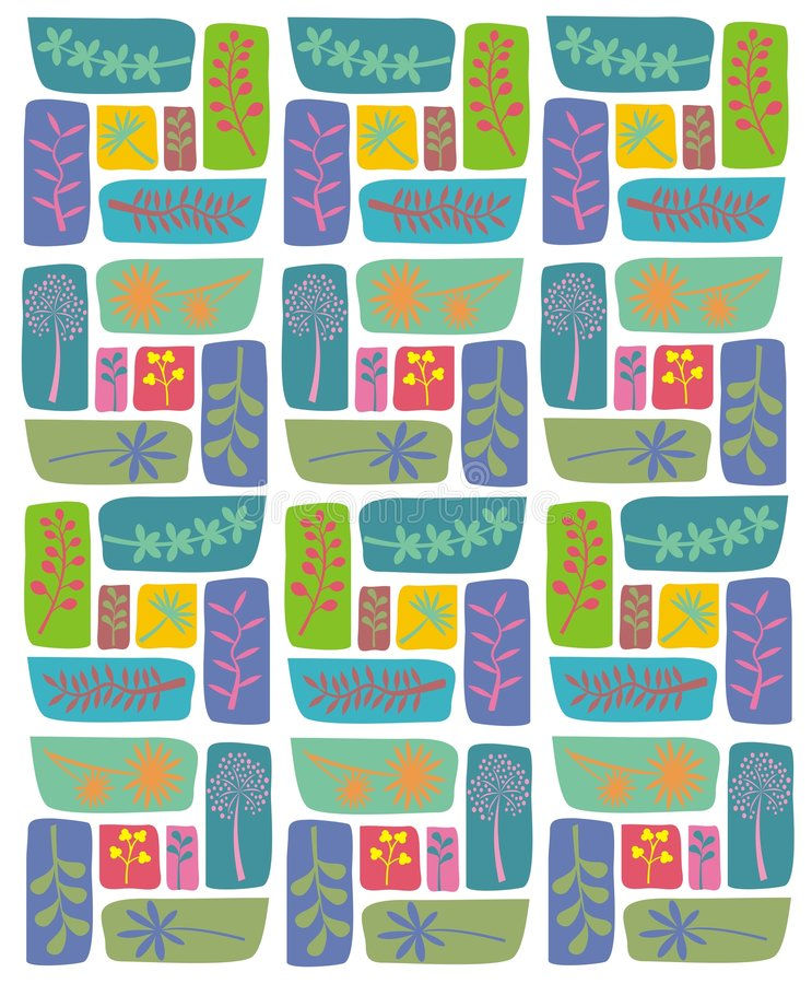 Retro leaf pattern. Illustration of various leaf retro shapes in a repeat pattern could be used for greetings card