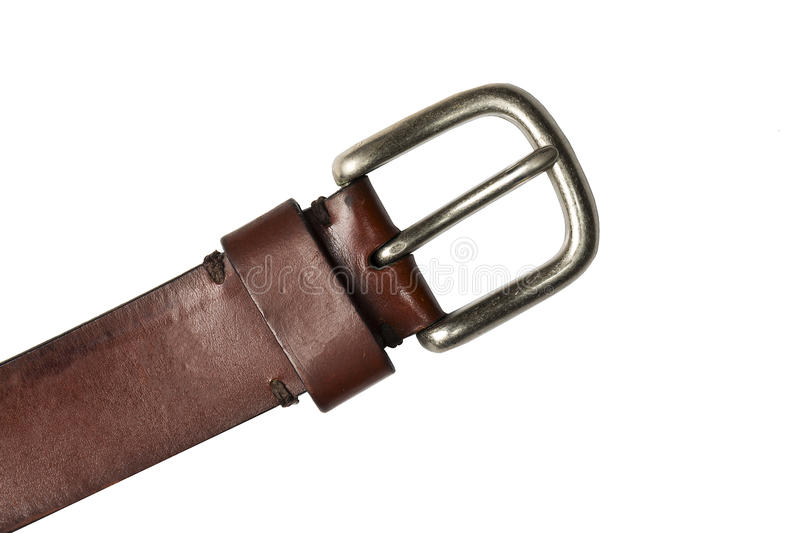 Retro leather belt with metal clasp isolated on white royalty free stock image