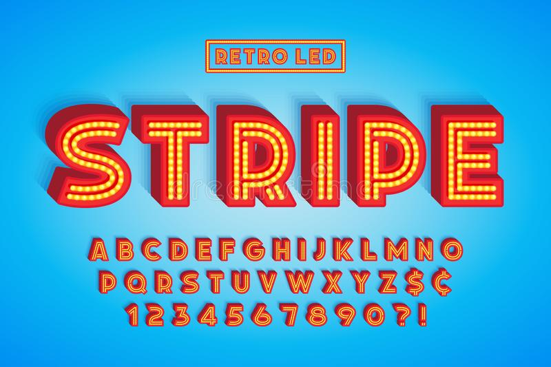 Retro led stripe font design, letters and numbers. Swatch color control royalty free illustration