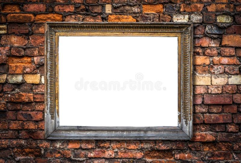 Retro- leerer Art Frame On eine Backsteinmauer lizenzfreies stockfoto