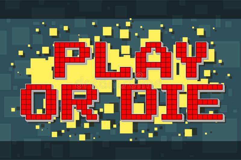 Retro lek för rött PIXEL eller att dö knappen för videospel royaltyfri illustrationer